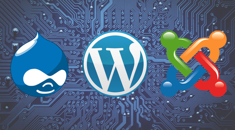 Comparing webpages built in Joomla, WordPress and Drupal