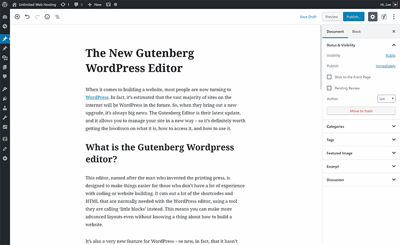 Gutenberg WordPress Edit Post