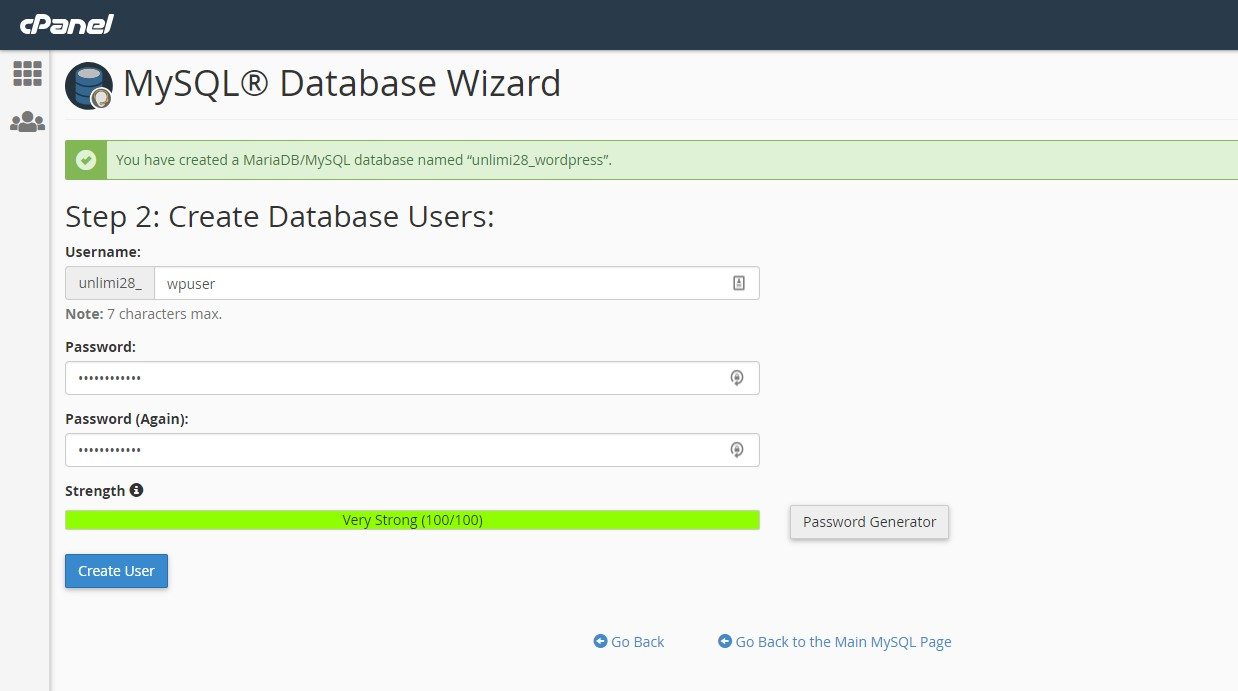 Create a database user in cPanel