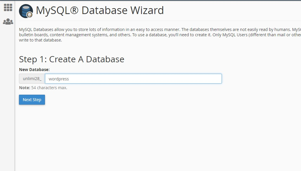 Create a new database in cPanel