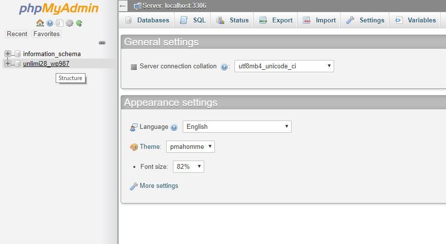 screenshot of database in PHPMyAdmin